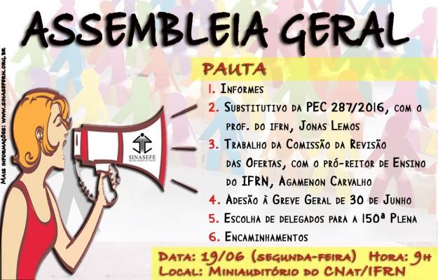 SINASEFE Natal convoca categoria para Assembleia Geral na próxima segunda-feira (19)