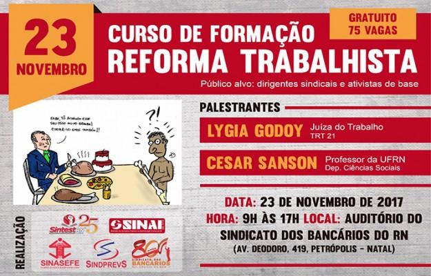 """FORMAÇÃO POLÍTICA: curso """"Reforma Trabalhista"""" será realizado em 23 de novembro"""