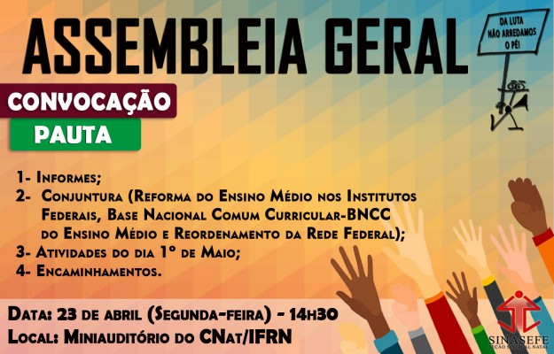 Assembleia Geral do SINASEFE Natal será realizada na próxima segunda-feira (23/04)