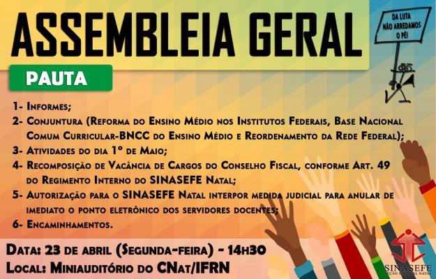 Reordenamento da Rede Federal e Ponto Eletrônico serão temas da Assembleia Geral da próxima segunda-feira (23/04)