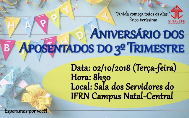 Comemoração dos aniversariantes do 3º trimestre acontece no dia 02 de outubro