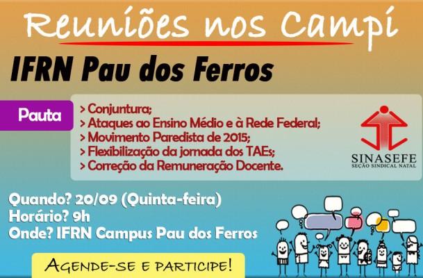 SINASEFE Natal realiza reunião no IFRN Pau dos Ferros nesta quinta-feira (20/09)