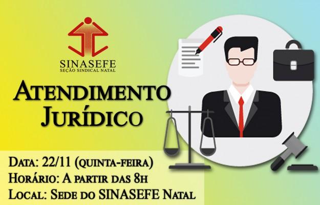 SINASEFE Natal informa: atendimento jurídico desta semana será realizado na quinta-feira (22/11)