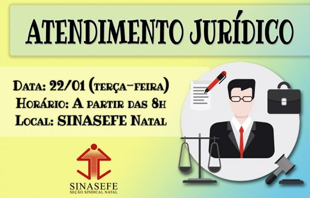 SINASEFE Natal informa: atendimento jurídico da Seção retorna na próxima terça-feira (22/01)