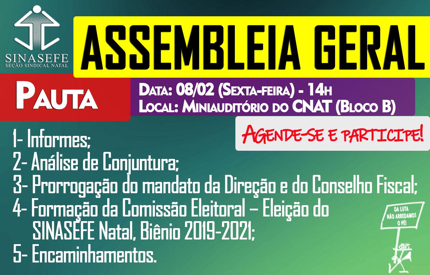 ac64c3958a Participe da Assembleia Geral que acontece na próxima sexta-feira (08 02)